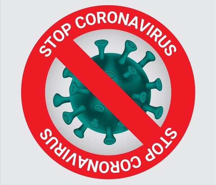 A green illustration of the virus under a microscope with a red circle crossing the image out saying: Stop coronavirus